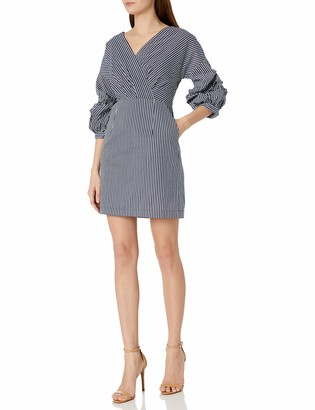 J.o.a. Women's Overlapping Wide Neck Dress with Puff Sleeve