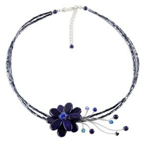 Novica Handmade Lapis Lazuli Gemstone Flower Adjustable Necklace