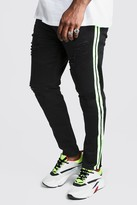 boohoo Mens Black Big And Tall Skinny Fit Neon Side Tape Biker Jean, Black