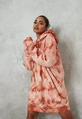 Missguided Brown Tie Dye Oversized Hoodie Dress