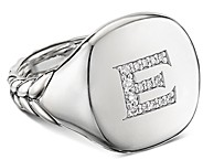 David Yurman Sterling Silver Initial Pinky Ring with Pave Diamonds