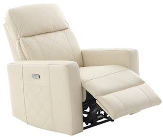 Latitude Run Franky Power Recliner Fabric: White Leather Match