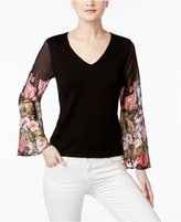 INC International Concepts Petite Floral-Sleeve Sweater, Only at Macy's