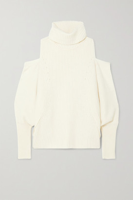 Antonio Berardi Cold-shoulder Ribbed Wool And Cashmere-blend Turtleneck Sweater - Ivory
