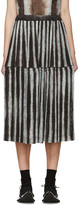 Comme des Garcons Black and Grey Pleated Ink Jet Skirt
