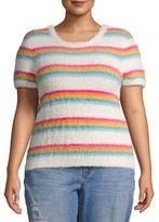 No Boundaries Juniors' Plus Size Striped Short Sleeve Eyelash Sweater
