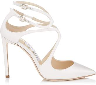 Jimmy Choo LANCER 100 Ivory Satin Pointy Toe Pumps