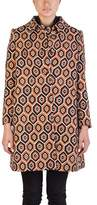 Prada Women's Wool Geometric Shape Pattern Overcoat Orange.