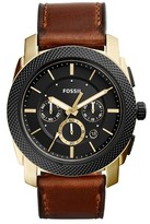 Fossil Men's Machine Chronograph Leather Strap Watch, 45Mm