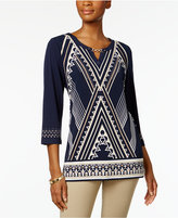 JM Collection Petite Printed Hardware Tunic, Only At Macy's Macy's