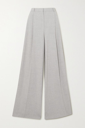 Nina Ricci Pinstriped Stretch-wool Wide-leg Pants - Light gray