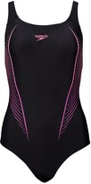 Speedo Womens Placement Powerback Swimsuit Black/Pink