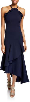 Shoshanna Leyma Crepe Asymmetric Ruffle Halter Gown