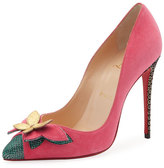 Christian Louboutin Maripopump Suede Butterfly Red Sole Pump, Multi