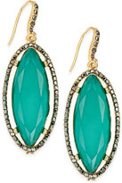 INC International Concepts Gold-Tone Hematite Pavé & Green Stone Drop Earrings, Only at Macy's