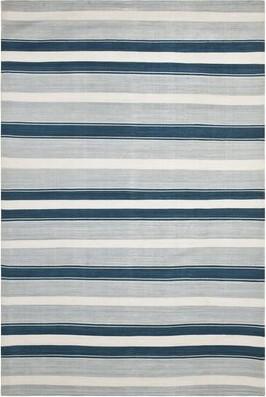 """Lauren Ralph Lauren Narragansett Handwoven Flatweave Silk Ocean Sky Area Rug Rug Size: Square 1'3"""""""