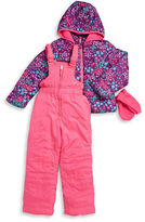 Hawke & Co Girls 2-6x Floral Puffer Coat, Snow Pants and Mittens Set