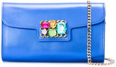 Casadei jewelled chain strap clutch bag - women - Kid Leather/glass/Metal (Other) - One Size