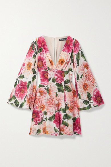 Dolce & Gabbana Floral-print Silk Crepe De Chine Mini Dress - Pink