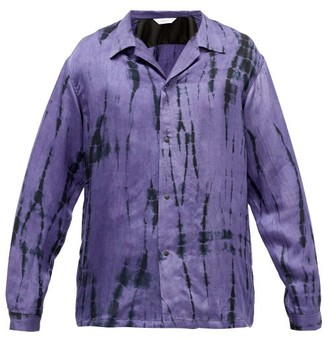 SASQUATCHfabrix. Tie Dye-print Satin Shirt - Mens - Black Purple