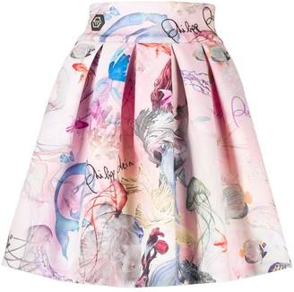 Philipp Plein Short Skirt Underwater Print