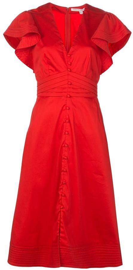 Veronica Beard Ruffled Sleeve Shirt Dress