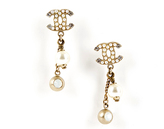 Chanel Gold Seeded Pearl CC Drop Pearl Earrings