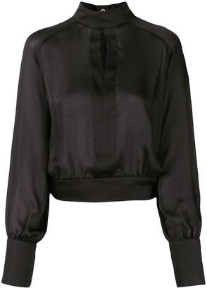 Balmain high-neck keyhole blouse