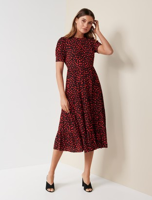 Forever New Betty Printed Midi Dress - Red Floating Spot - 10
