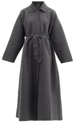 Norma Kamali Oversized Belted Cotton-blend Jersey Coat - Dark Grey