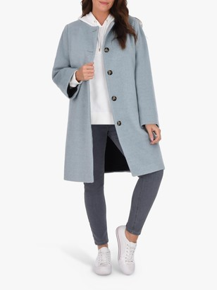 Live Unlimited Curve Collarless Button Up Coat, Pale Blue
