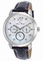Lucien Piccard Women's 'Rivage' Quartz Stainless Steel and Leather Casual Watch, Color:Blue (Model: LP-40038-02MOP-BLS)
