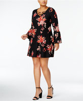 Planet Gold Trendy Plus Size Floral-Print A-Line Dress