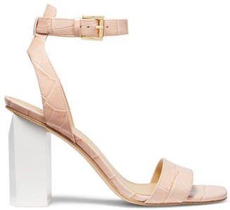 Michael Kors Petra Ankle-Strap Croc-Embossed Leather Sandals