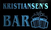 AdvPro Name w027548-b KRISTIANSEN Name Home Bar Pub Beer Mugs Cheers Neon Light Sign