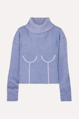 Thierry Mugler Ribbed Melange Wool-blend Turtleneck Sweater - Lilac