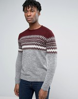 Pull&bear Fair Isle Jumper In Grey & Burgundy