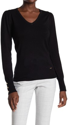 T Tahari Buttoned Cuff Long Sleeve Knit Top