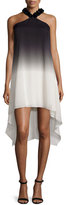 Halston Embellished Halter-Neck Ombre Dress, Black/Oyster