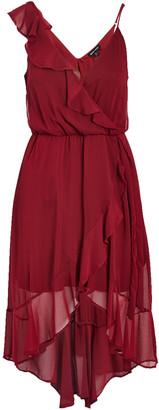 Ash Max + Women's Casual Dresses wine - Wine Asymmetrical Ruffle-Accent Surplice Dress - Women