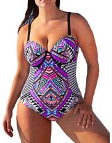 The Bazaar R Womens Sexy Retro High Waist Plus Szie Push-up Padded Bikini One Piece Swimsuit (L, )