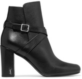 Saint Laurent Babies Buckled Leather Ankle Boots - Black