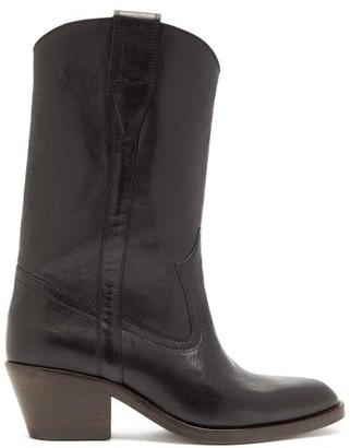 Isabel Marant Danta Leather Western Boots - Womens - Black