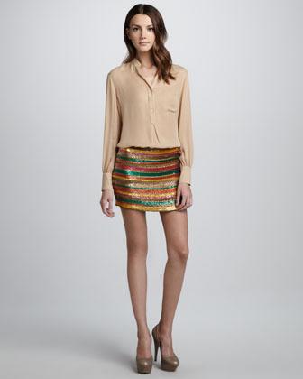 Haute Hippie Sequined Striped Skirt