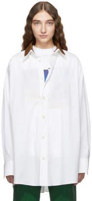 Plan C White and Brown Poplin Collar Shirt