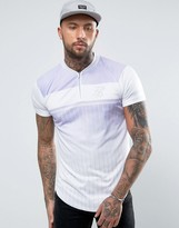 SikSilk Retro T-Shirt In Purple With Zip