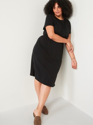 Old Navy Waist-Defined Slub-Knit Plus-Size Midi Dress