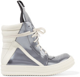 Rick Owens Metallic patent-leather high-top sneakers