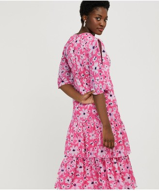 Monsoon Daisy Printed Tiered Tea Dress - Pink