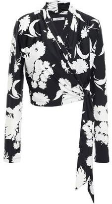 Ganni Alameda Floral-print Stretch-jersey Wrap Top